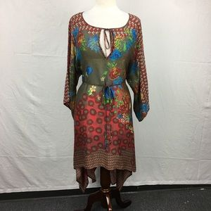 Johnny Was Multi Color Floral Print Tunic Dress